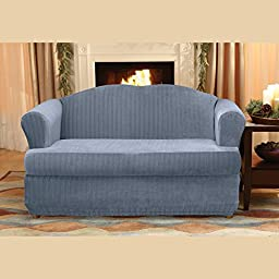 Sure Fit Stretch Pinstripe 2-Piece - Loveseat Slipcover  - French Blue (SF35828)