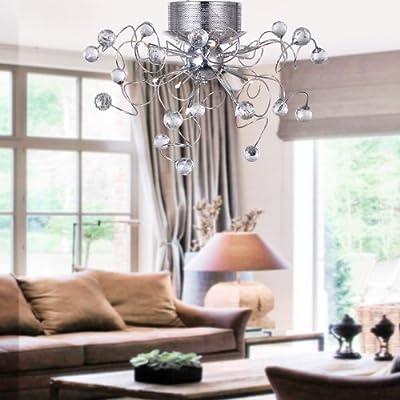 LOCO® Chandeliers Crystal Modern Design Living 9 Lights, Flush Mount Ceiling Light Fixture for Hallway, Entry, Dining Room, Living Room, Bulb Included