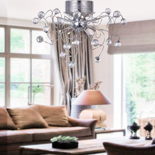 LOCOR Chandeliers Crystal Modern Design Living 9 Lights Flush Mount Ceiling Light Fixture For Hallway Entry Dining Room Bulb Included