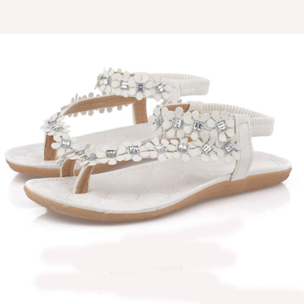 Trolimons Womens Bohemian Flats String Bead Casual Elastic Band Ladies Beach Shoes Sandals Beach Walk Shoes