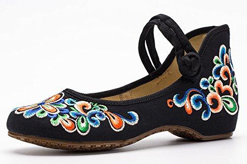 Avacostume Kvinna Kinesisk Broderi Tillfällig Mary Jane Resor Promenadskor Svart