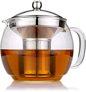 Glass Teapot with Infuser for Blooming and Loose Leaf Tea Pot by Cozyna, 41oz (36oz to Strainer)   1.2 Liter, Lotus