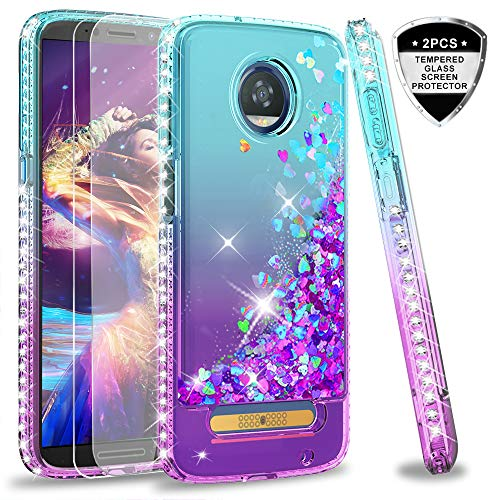 Moto Z3 Play Case, Moto Z3 Case with Tempered Glass Screen Protectors [2 Pack] for Girls Women,LeYi Glitter Cute Shiny Moving Quicksand Clear Bling Phone Case Cover for Motorola Z3 Play ZX Teal/Purple