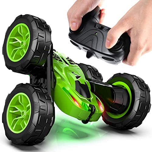OlarHike Remote Control Car, Durable RC Stunt Cars Toys for Kids, Double Sided Rotating 360°Flips with Dual-Color Headlights- Toy Gifts for 2, 3, 4, 5, 6, 7, 8 Year Old Boy (4 Batteries Included)