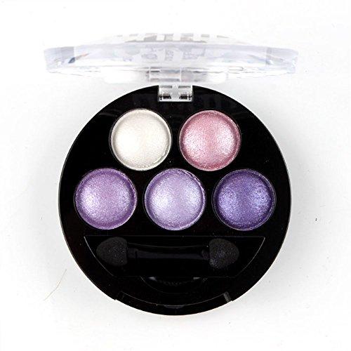 Mallofusa 5 Colors Eye Shadow Powder Metallic Shimmer Eyeshadow Palette (Amethyst Glam) 4.7oz