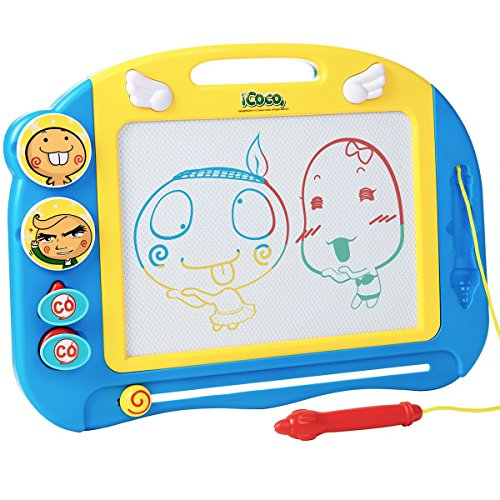 Magnetic Drawing Board for Kids and Toddlers with Stamps and Pen, Erasable Colorful Doodle Board, Preschool Learning and Educational Toy, Portable Magna Doodle Pro for Travel by JoyBlink