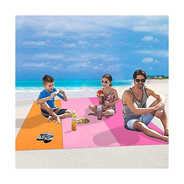 MMTX Portatile Impermeabile Coperta da Spiaggia, 210X200cm Telo Mare Antisabbia Tappetino Campeggio Accessori con 5… 3 spesavip