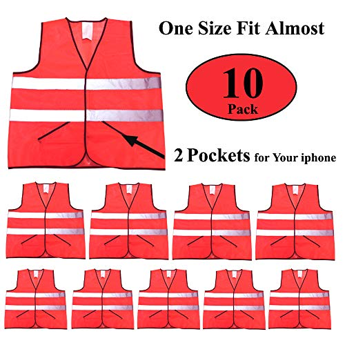 CIMC, Reflective Safety Vest with Pockets,10 Pack,Bright Construction Vest with Reflective Strip,Made from Breathable and Neon Yellow Mesh Fabric (orange) ()