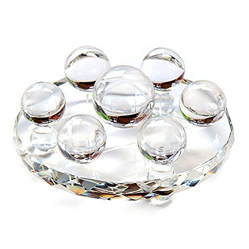 MIKINI Qixing Array Seven Star Group Natural Carved Chakra Stone Crystal Balls Sphere Figurine Statue with Clear Quartz Crystal Glass Stand (Rock Crystal Quartz Ball) Topaz Crystal Star