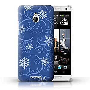 KOBALT? Protective Hard Back Phone Case / Cover for HTC One/1 Mini | Blue Design | Snowflake Pattern Collection