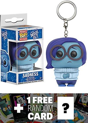 Sadness: Pocket POP! x Disney Pixar - Inside Out Mini-Figure Keychain + 1 FREE Classic Disney Trading Card Bundle (113410)