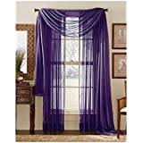 3 Piece Dark Purple Sheer Voile Curtain Panel Set: 2 Purple Panels and 1 Scarf