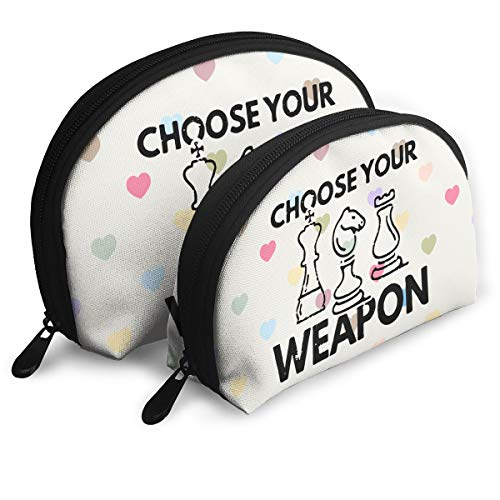 Choose Your Weapon Chess Cosmetic Bags Toiletry Bag Women Girls Shell Makeup Travel Portable Bags