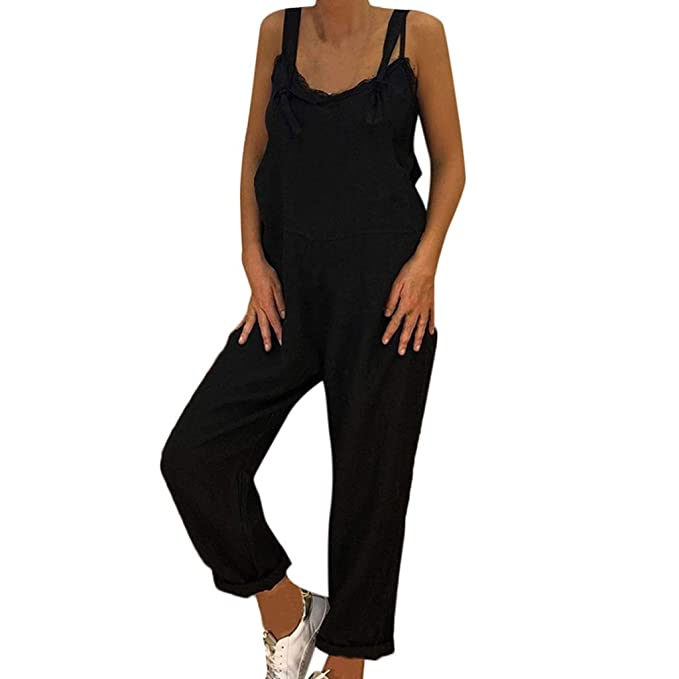 Amazon.com: Chándal de moda para mujer, negro, de lino ...