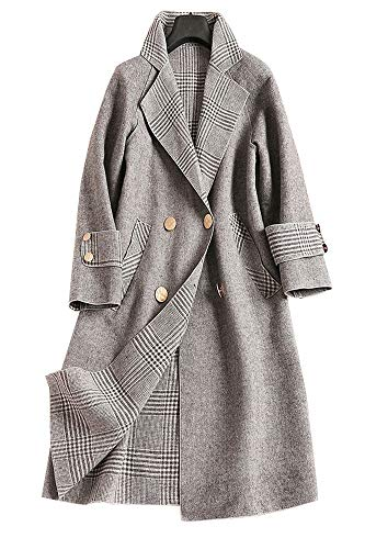 - Wsirmet Women's Woolen Loose Fit Double-Breasted Lapel Long Sleeve Trench Coat Overcoat