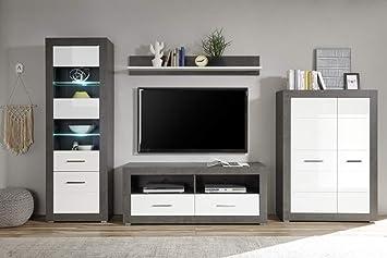 Beautyscouts Möbel Im Wohnwand Tolero V Dark Concretweiß