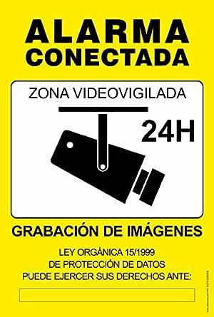 Cartel resistente PVC - ZONA VIDEOVIGILADA 24H(amarillo) - Señaletica de aviso - ideal para colgar y advertir al transeúnte (1)