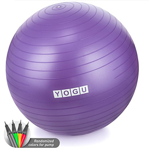 Yogu Stability Exercise Ball 65cm Balance Ball Birthing Ball with Air Pump Anti-Slip & Anti-Burst Supports 2000lbs Great for Yoga Pilates Abdominal Workout Fitness Ball and Office Chair