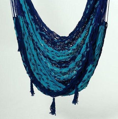 XL Thick Cotton Cord True Mayan Hammock Chair (Blues) Hamaca