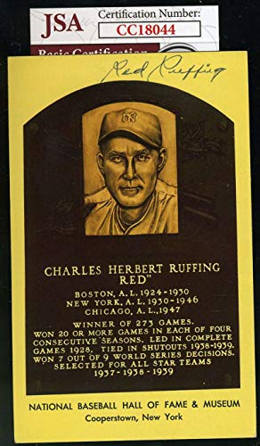 RED RUFFING JSA COA Autograph Gold HOF Plaque Hand Signed Authentic