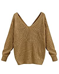 Bonesun Women S Long Sleeve Deep V Neck Criss Cross Backless Knit Sweater Pullover Coffee L