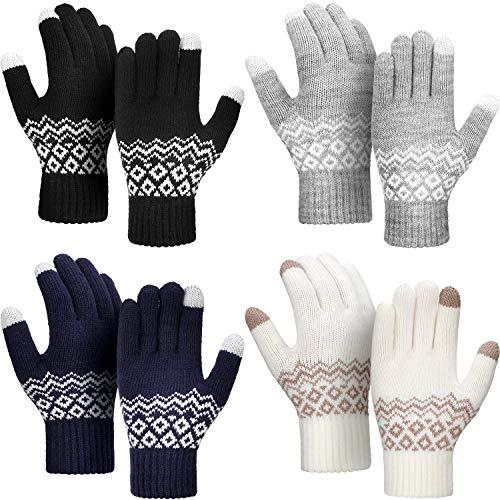 4 Pairs Winter Knit Touchscreen Gloves Windproof Anti-slip Mittens Men Set 1 Size 1