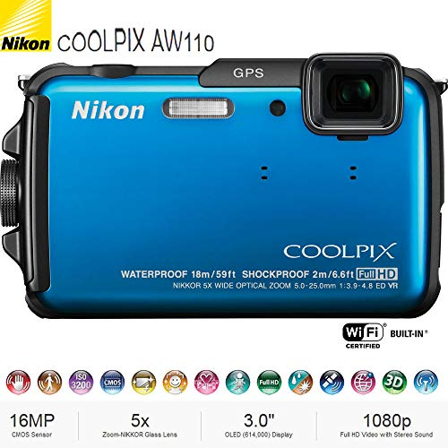 - Nikon COOLPIX AW110 16MP Waterproof Shockproof Freezeproof Digital Camera (Blue) 26411B - (Renewed)