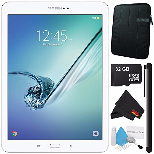 Samsung 32GB Galaxy Tab S2 9.7'' Wi-Fi Tablet (White) SM-T813NZWEXAR + Universal Stylus for Tablets + Tablet Neoprene Sleeve 10.1'' Case (Black) + 32GB Class 10 Micro SD Memory Card Bundle by Samsung