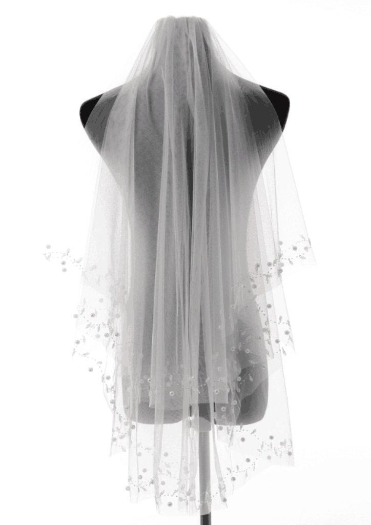 Love Millie 1T Pearl Beaded Wedding Veil (Ivory)