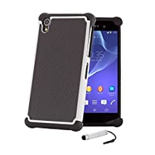 32nd® Shock proof defender heavy duty tough case cover for Sony Xperia Z1 (L39H) + screen protector, cleaning cloth and touch stylus - White
