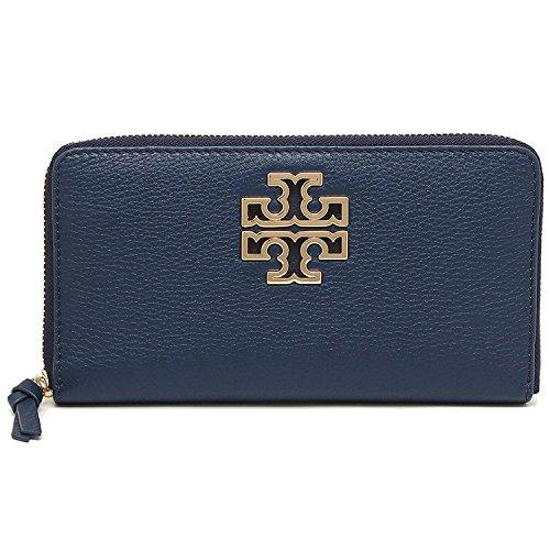 Tory Burch Wallet Zip Around Britten Silver TB Logo Leather (Hudson Bay) by Tory Burch