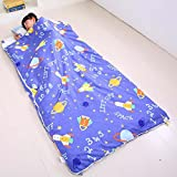 Sport do All Seasons Baby Cartoon Space Adventure Blue Sleeping Bag with Removable Shoulder Pads Children Pure Cotton Thicken Anti-kicking Quilt 79 X 47 Inch