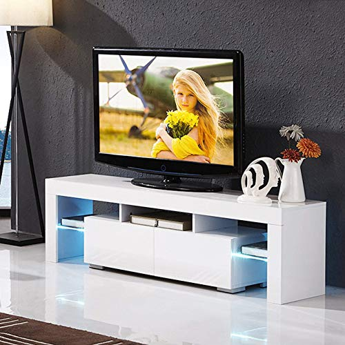 mecor Modern White TV Stand with LED Lights, High Gloss TV Stand for 65 Inch TV LED TV Stand with Storage and 2 Drawers Living Room Furniture (White) (White Floating Tv Stand)