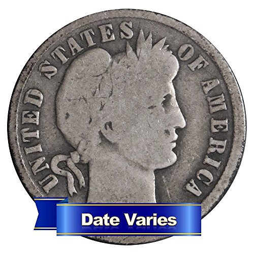(1892-1916) 90% Silver Barber Dimes ($1 Face Value) 10 different dates 10c Average Circulated