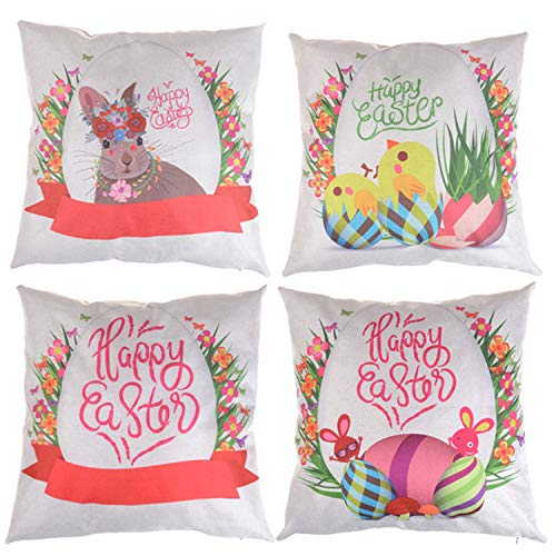 LOCOLO Set of 4 Happy Easter Day Rabbit with Egg Pillow Covers Cotton Linen Throw Pillow Case Cushion Covers Vintage Graphic Home Decor for Easter Day Home Sofa Office Car Square 18x18 Inches
