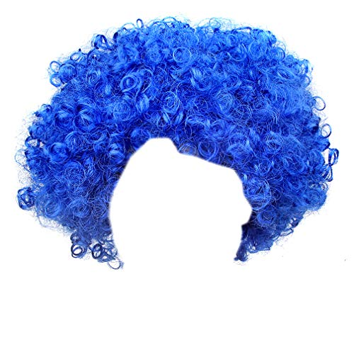 IETANG Afro Fluffy Wig Hair Curl Wigs Synthetic Fiber Hairpiece - Party Disco Clown Hair Football Fan Adult Child Costume Wig (Royal Blue) -