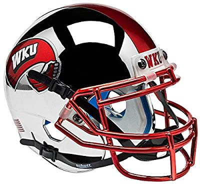 Western Kentucky Hilltoppers Mini XP Authentic Helmet Schutt - Chrome - NCAA Licensed - Western Kentucky Hilltoppers Collectibles
