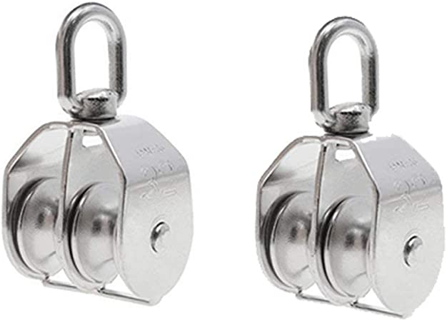 M32 Stainless Steel Double Pulley Rope Pully Swivel Block Lifting Wheel New