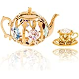 Matashi 24K Gold Plated Tea Set Ornament With Colored Crystals