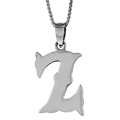 16-30 inch 2mm Curb Chain 3//4 inch Sterling Silver Block Initial B Necklace Alphabet Letters High Polished