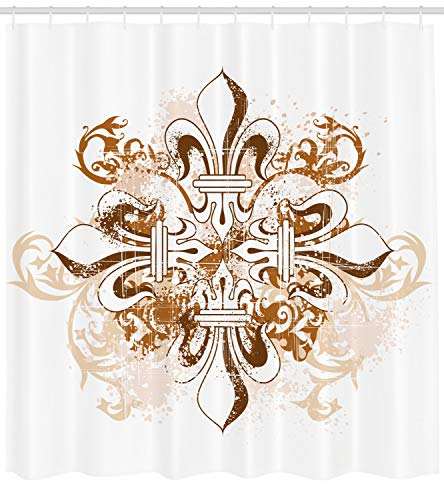 Ambesonne Fleur De Lis Shower Curtain, Ancient Antique Heraldry Symbol Vintage Floral Swirls Traditional Old Fashion, Fabric Bathroom Decor Set with Hooks, 70 inches, Brown White