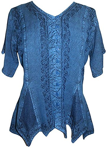 Agan Traders 136 B Gypsy Medieval Netted Assymetrical Vintage Top Blouse (Large, Blue)