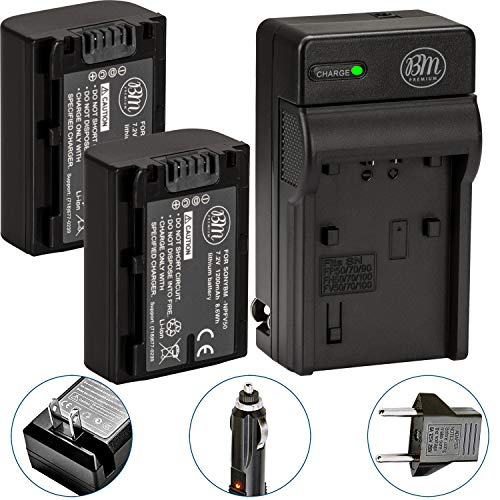 BM Premium Pack of 2 NP-FV50 Batteries and Battery Charger for Sony FDR-AX53, HDR-CX675/B, HDR-CX455/B, HDR-CX330, HDR-CX380, HDR-CX430V, HDR-CX900, TD30V, HDR-CX260V, HDR-CX580V, HDR-CX760V, HDR-PJ200, HDR-PJ230, HDR-PJ340, HDR-PJ380, HDR-PJ430V, HDR-PJ540, HDR-PJ650V, HDR-PV710V, HDR-PJ670, HDR-PV790V, HDR-PJ810, HDR-TD30V, FDR-AX33, FDR-AX100 Handycam Camcorder (Sony Dcr Sx45 Battery)