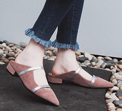 PBXP OL pompe punta punta cinghia decorazione tacco basso chunky edizione limitata scarpe casual femminili UE taglia 33-40 , pink , 38