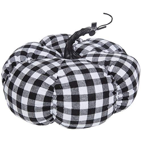 Black and White Buffalo Plaid Plush Pumpkin Fall Autumn Home Decoration by onlinepartycenter
