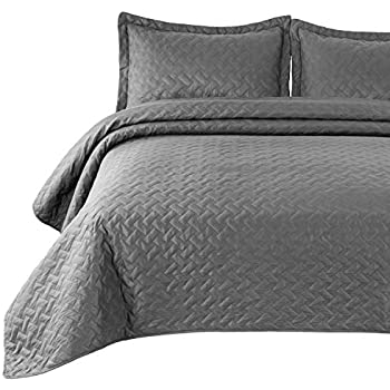 Amazon Com Bordeaux Light Grey King Cotton Quilt Set