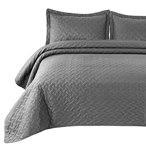 Bedsure Quilt Set Grey King Size (106x96 inches) - Basket weave Pattern Bedspread - Soft Microfiber Lightweight Coverlet for All Season - 3 Piece (Includes 1 quilt, 2 shams) (Comforter King Grey)