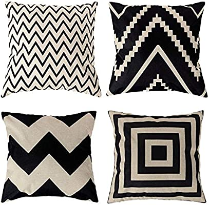 4 Pack Fundas de Cojín Algodón Lino Throw Pillow Case, Decorativa Cuadrada Almohada Caso Cojínes Funda para Sofá Cama Coche Sillas Decoración Cubierta, 45x45 cm, Moda Color blanco y negro Geométrico: Amazon.es: