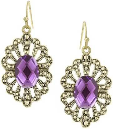 1928 Jewelry Antiqued Gold-Tone Royal Purple Drop Earrings