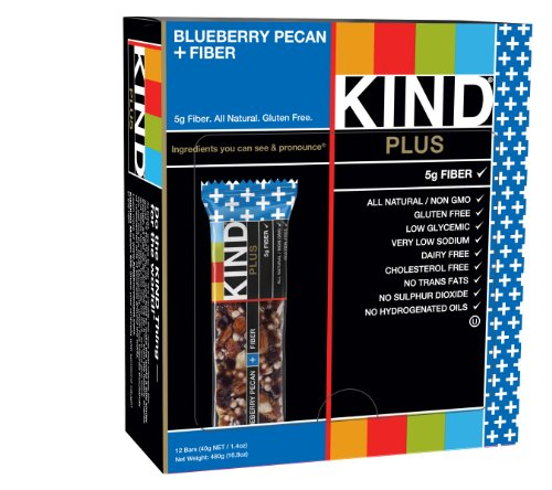 Cashew Pecan - KIND PLUS, Blueberry Pecan + Fiber Bars, 1.4 Oz Gluten Free Bars (Pack of 12)